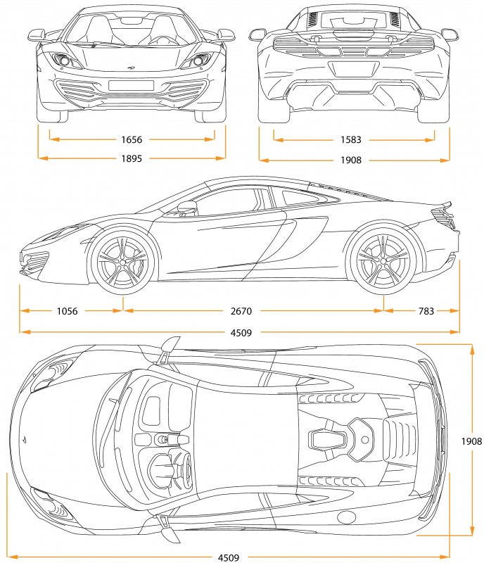 McLaren MP4-12C drawing
