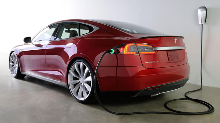 Tesla is charged from the socket