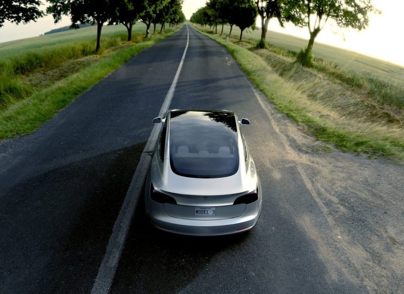 Back view of Tesla Model 3