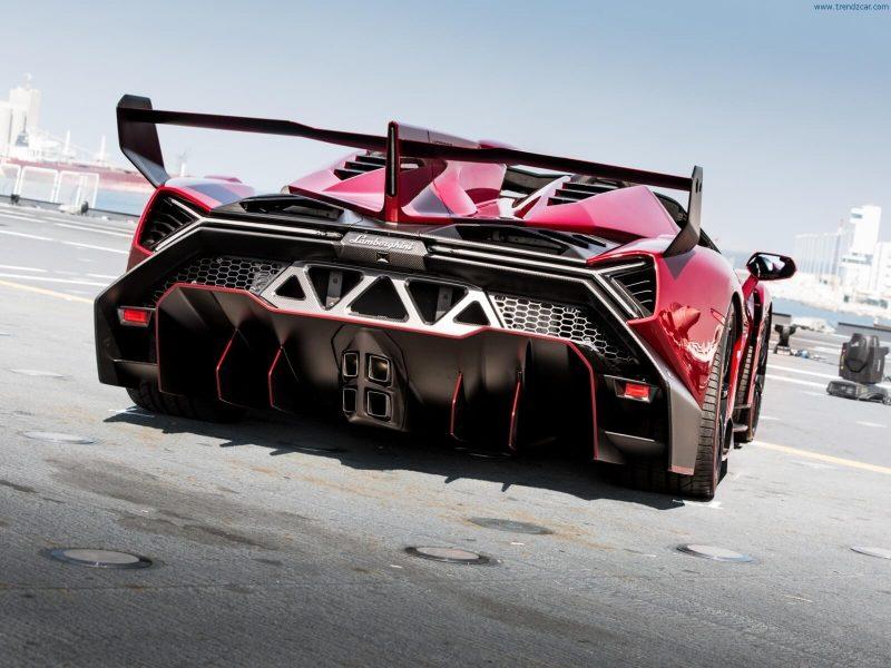 Rear view of Lamborghini Veneno Roadster