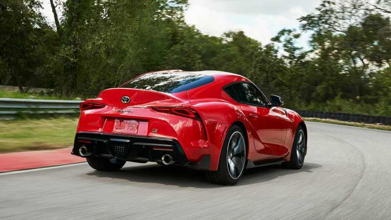Rear view of the Toyota Supra