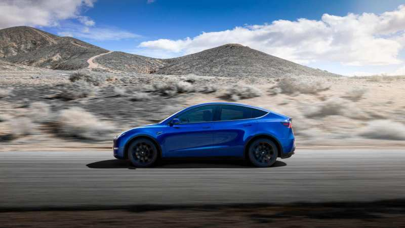 Side view of Tesla Model Y